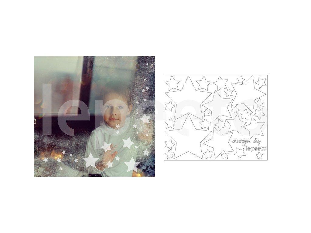 Hvězdičky mléčné - samolepky na okno, permanentní