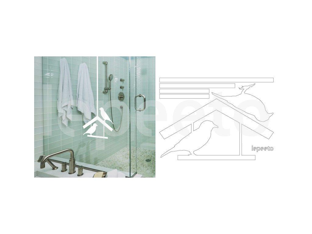 Krmítko s ptáčky - permanentní samolepka na sklo a stěnu