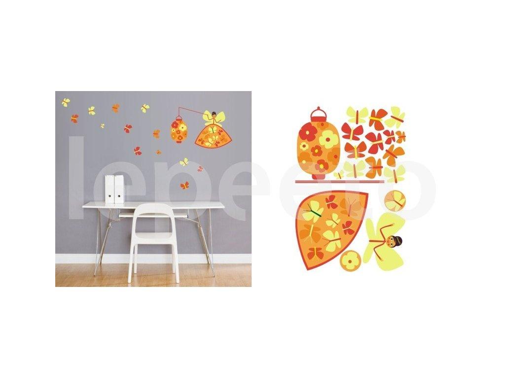 Víla se světýlkem a motýlky - samolepky na zeď - zvýhodněný balíček