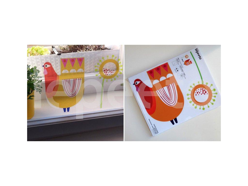 Slípka se sluncem - přelepovací samolepka na okno
