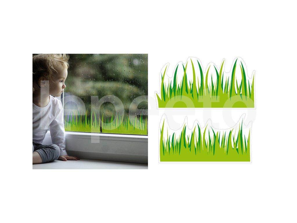 Jarní travička - statická přelepovací nálepka na okno
