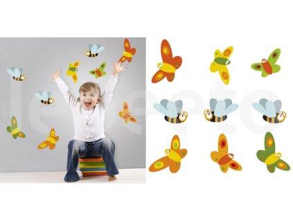 Hmyz ORANGE - motýli a čmeláci - samolepky na zeď