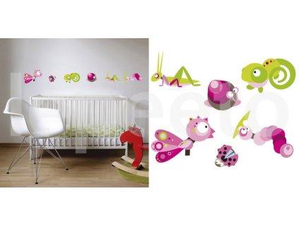 Život v trávě PINK - samolepky na zeď