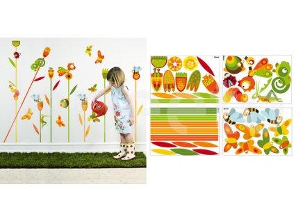 Chameleon a motýlci v trávě ORANGE - zvýhodněný balíček samolepek na zeď