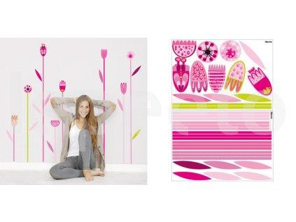 Rozkvetlá tráva PINK - samolepky na zeď