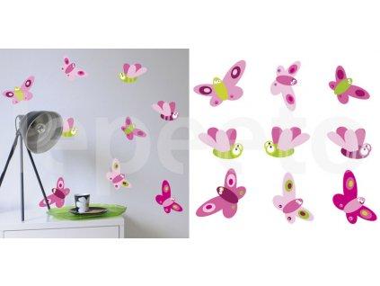 Hmyz PINK - motýli a čmeláci - samolepky na zeď