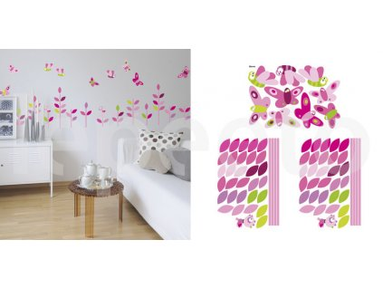 Balíček Motýlí louka PINK - zvýhodněný balíček samolepek na zeď