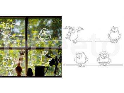 Sváteční vrabčata mléčná - samolepka na okno