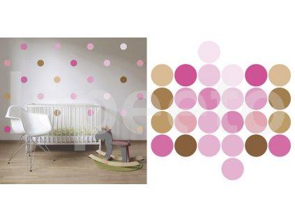 Klasické puntíky druhé generace  - růžová sada - samolepky na zeď - průměr 10 cm