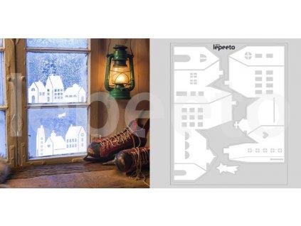 Domky bílé - přelepovací samolepky na okno