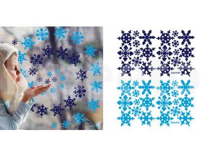 Balíček vločky modro-modré - samolepky na okno i zeď