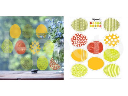 Vajíčka jarně barevná - z kolekce Pestrobarevné jaro - statické samolepky na okno