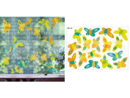 Motýlí třepotání COLOURFUL & ORANGE - permanentní samolepky na okno