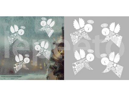 Andělíčci v bílé - přelepovací nálepky na okno