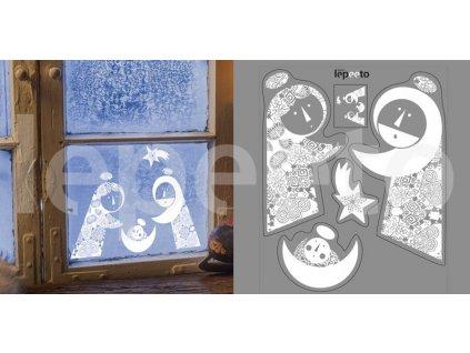 Marie a Josef s Ježíškem - přelepovací samolepky na sklo