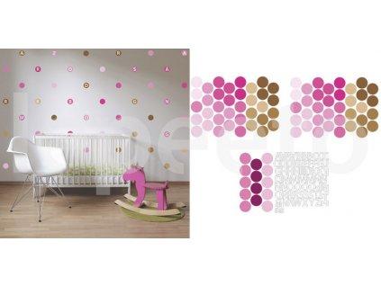 Balíček písmenka a puntíky PINK - sada nálepek na zeď za zvýhodněnou cenu