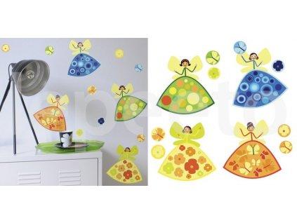 Sada malých víl barevná - samolepky na zeď
