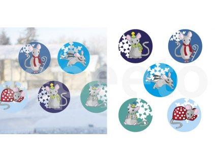 Myší Vánoce - přelepovací samolepky na okno modré