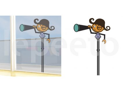 Pirát s dalekohledem -  samolepka na okno - permanentní