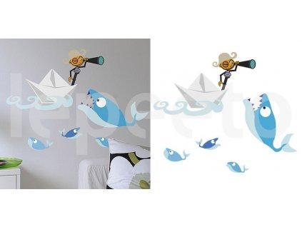 Pirát s dalekohledem a velrybou - samolepky na zeď