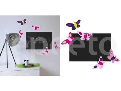 Tabule s motýlky PINK - samolepka na zeď