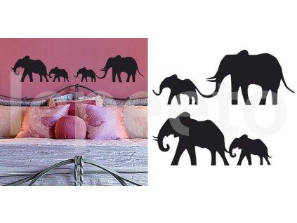 Sloní rodina - samolepky na stěnu a okno