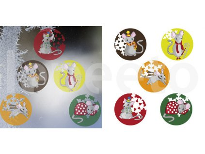 Myší Vánoce - přelepovací samolepky na okno barevné
