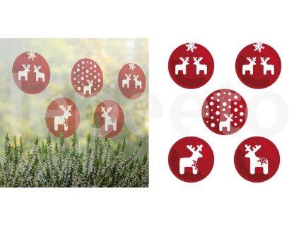 Jelínci sněžní červená - přelepovací okenní samolepky