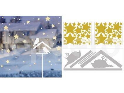 Vánoční noc nad krmítkem - zvýhodněný balíček arch hvězdiček zdarma - permanentní nálepka na okno i zeď