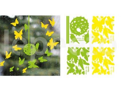 Třepotání křídel - jarní zvýhodněný balíček - jeden arch motýlů zdarma - permanentní samolepka na okno i stěnu