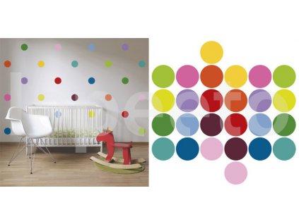 Klasické puntíky druhé generace - barevná sada - samolepky na zeď - průměr 10 cm