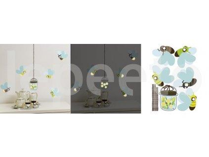 Světlušky COLOURFUL - samolepky na zeď - svítí v noci