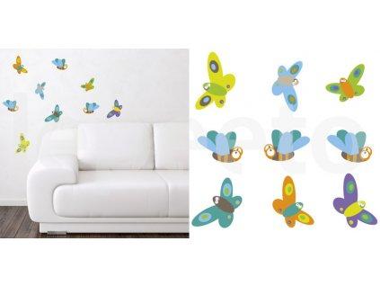 Hmyz COLOURFUL - motýli a čmeláci - samolepky na zeď