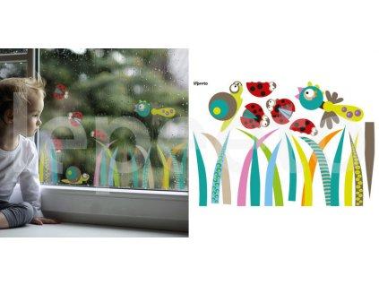 Cvrkot v trávě COLORFUL - mix permanentních nálepek na okno