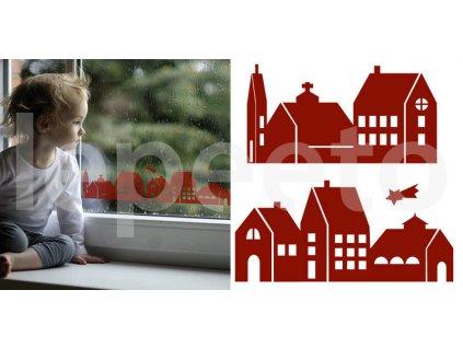 Domky červené - přelepovací samolepky na okno