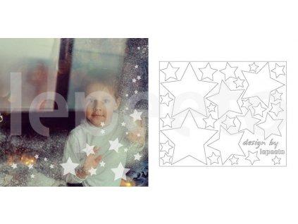 Hvězdičky mléčné - samolepky na okno permanentní