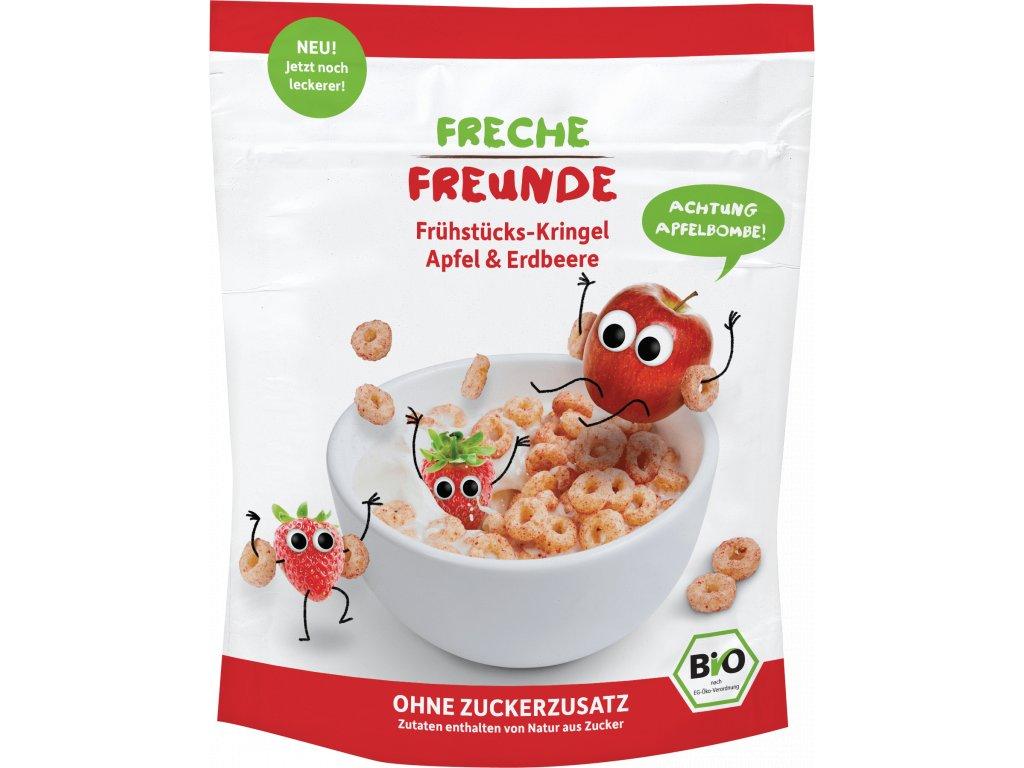 Freche Freunde BIO Cereálie - kroužky - Jablko a jahoda 125g