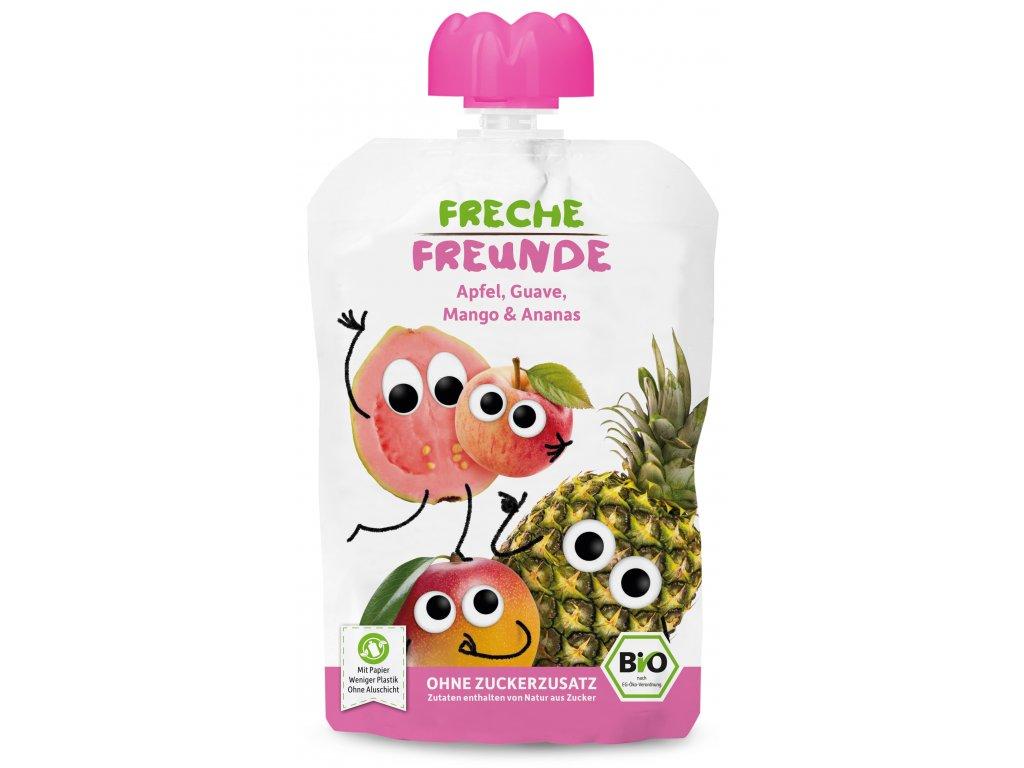 Freche Freunde - BIO Ovocná kapsička Jablko, guave, mango a ananas 100g