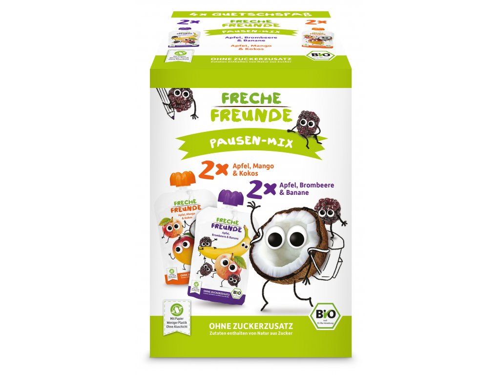 Freche Freunde - BIO MIX 2 druhy - Jablko, mango s kokosem a Ostružina s banánem 4x100g