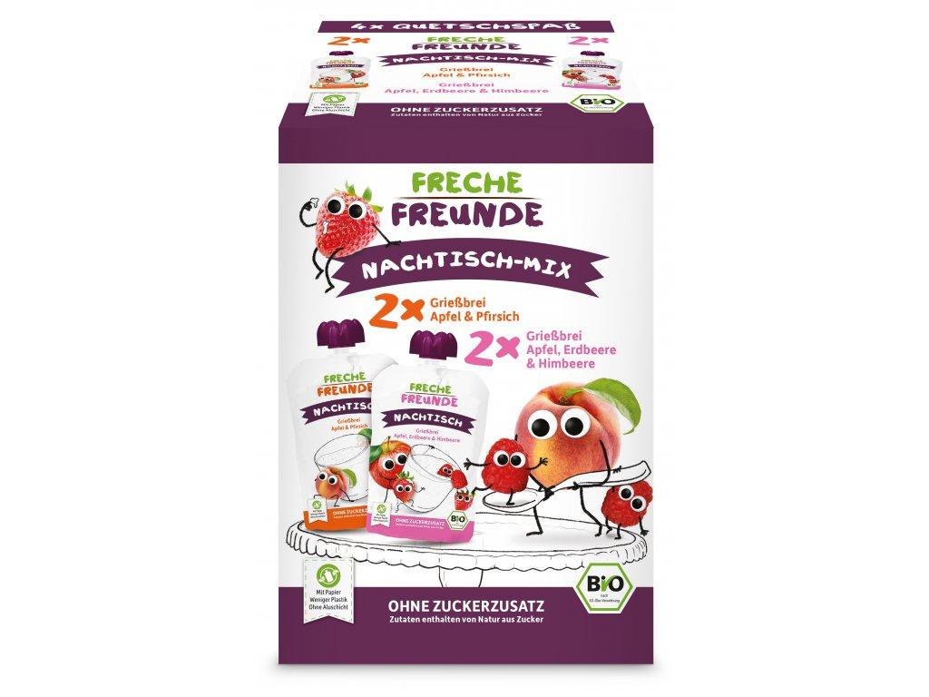 Freche Freunde - BIO MIX 2 druhy - Krupice s jablkem, jahodou, malinou a broskví 4x100g