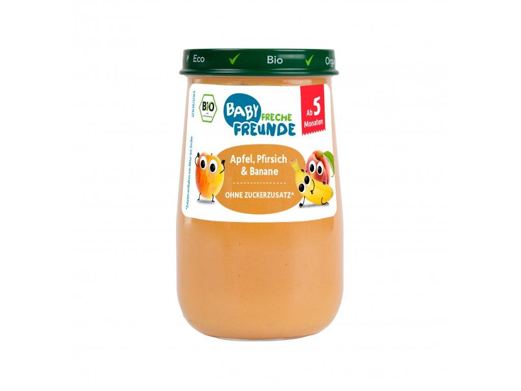 Freche Freunde - BIO Jablko, broskev a banán - sklenička 190g