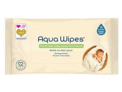 Aqua Wipes - EKO Dětské vlhčené ubrousky s 99,6 % vody 12 ks