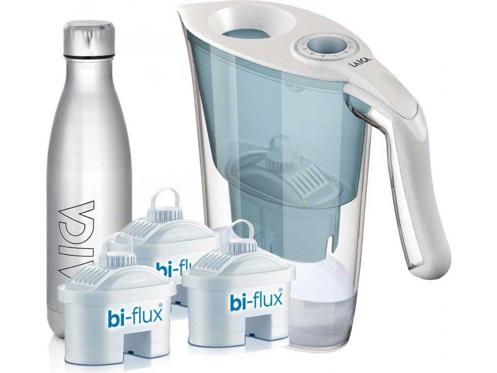 Laica AIDA modrá + 3x filtrační patrona Biflux + sportovní nerezová láhev