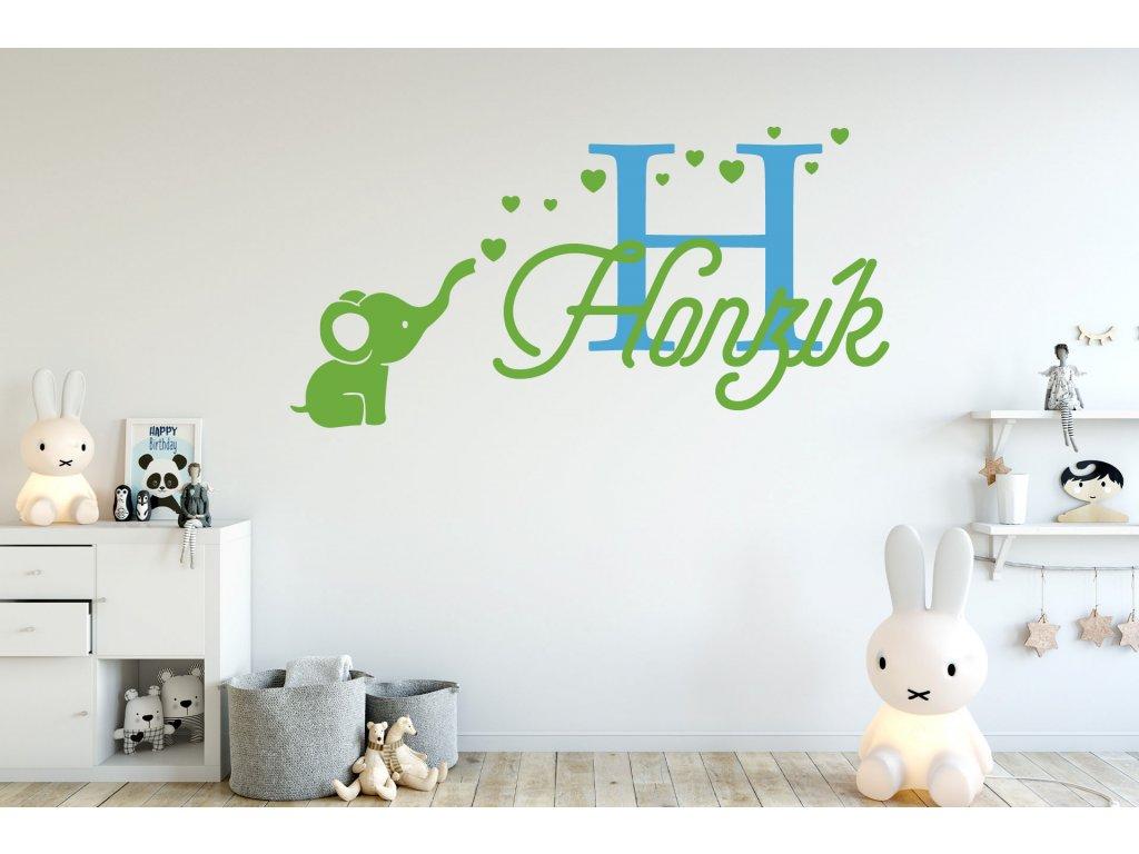 Samolepka pro miminka Slon + jméno pro kluky