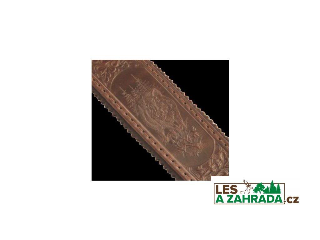 Kožený řemen na zbraň podšitý protiskluzovou gumou s motivem zvěře 5cm