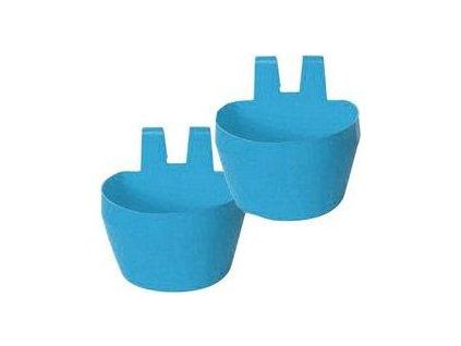 Miska na krmivo KRÁLÍK,závěsná 300ml plast, modrá 2ks