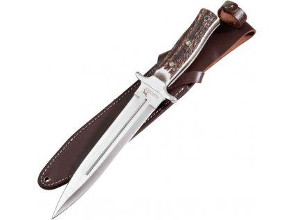 Lovecký tesák Parforce, Boar Hunter, čepel 23cm, střenka z jeleního parohu, kožené pouzdro