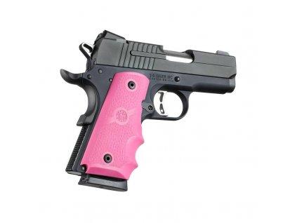 Pažbičky Hogue, pro pistole typu 1911 Officer's, pryžové, růžové