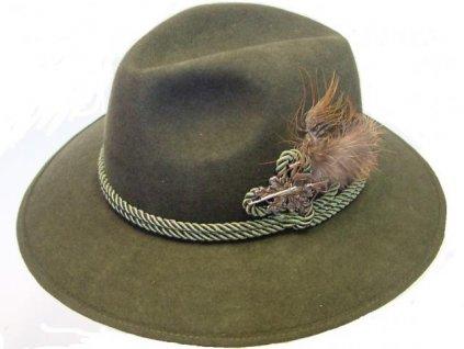 Myslivecký klobouk s odznakem, vlněná plsť 61
