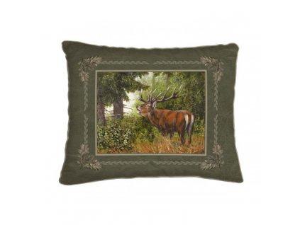 Polštář  zelený- jelen z profilu*